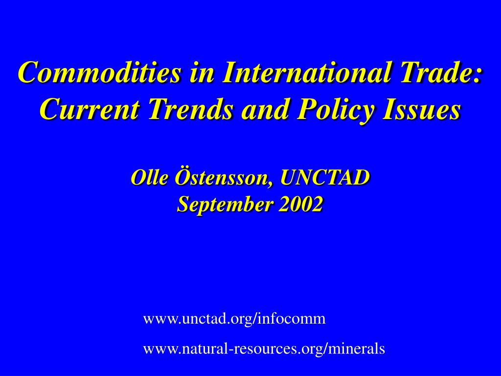 Commodities in International Trade:
