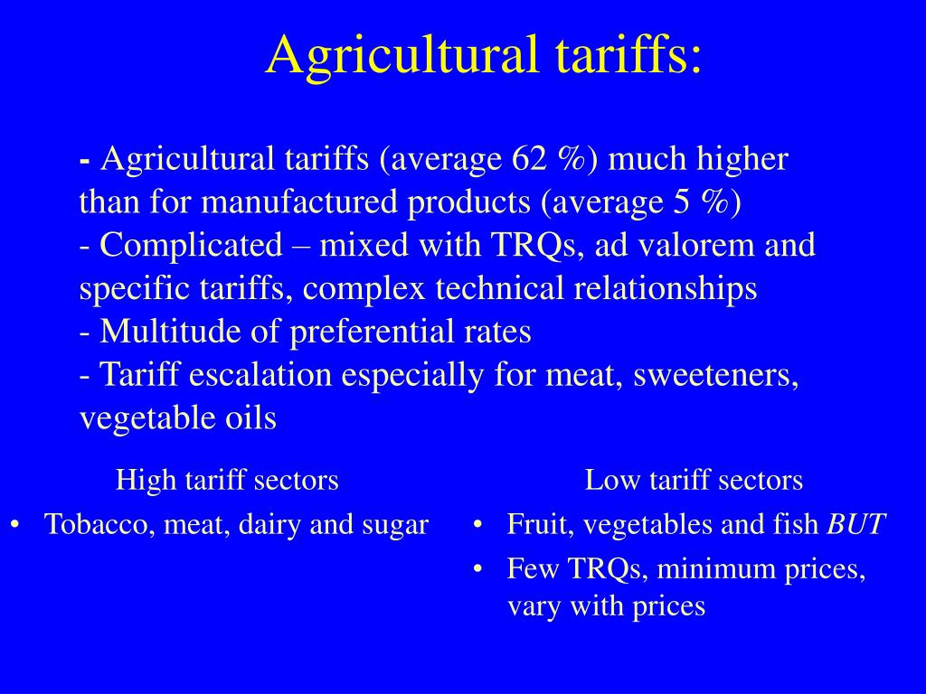 High tariff sectors