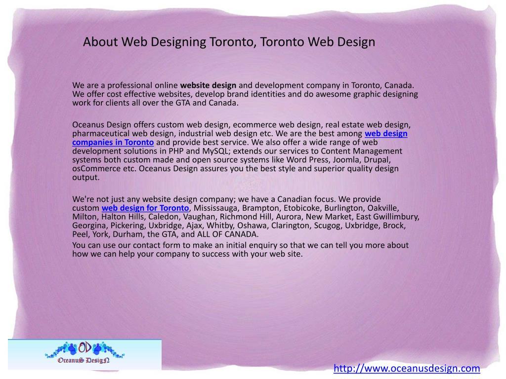 About Web Designing Toronto, Toronto Web Design