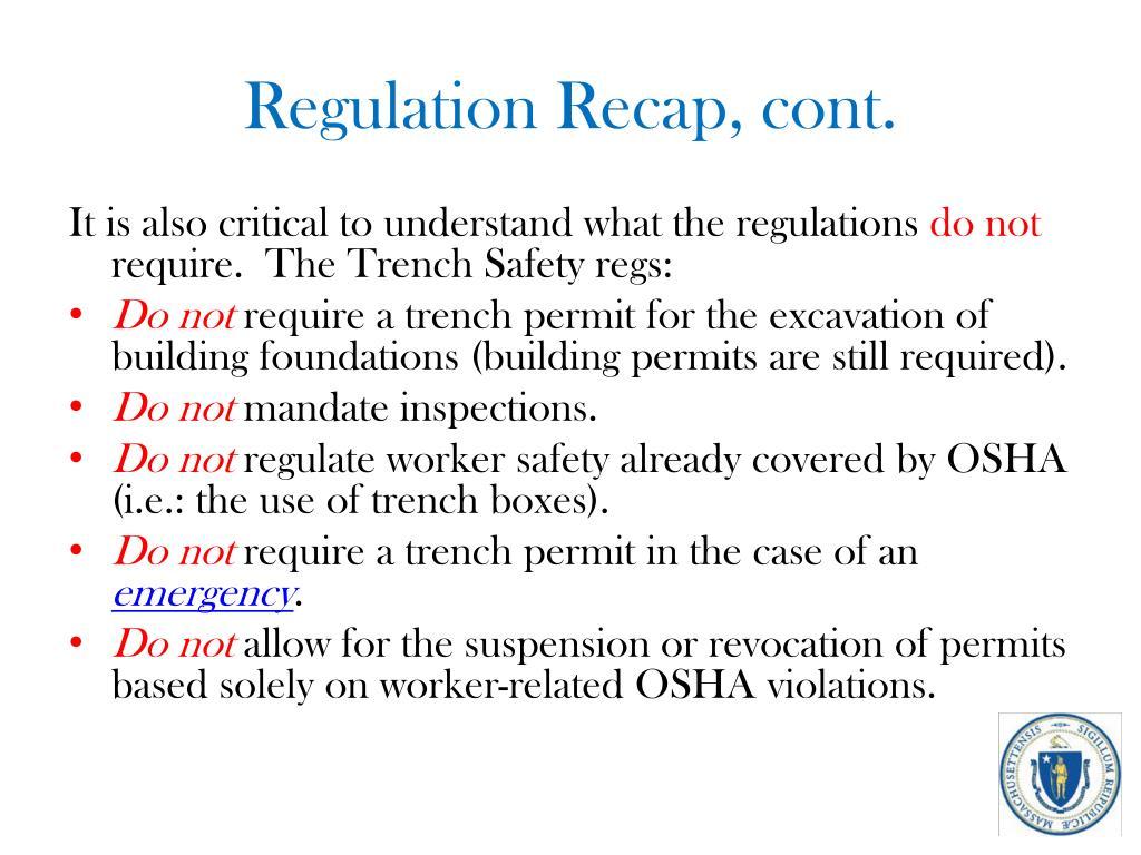 Regulation Recap, cont.