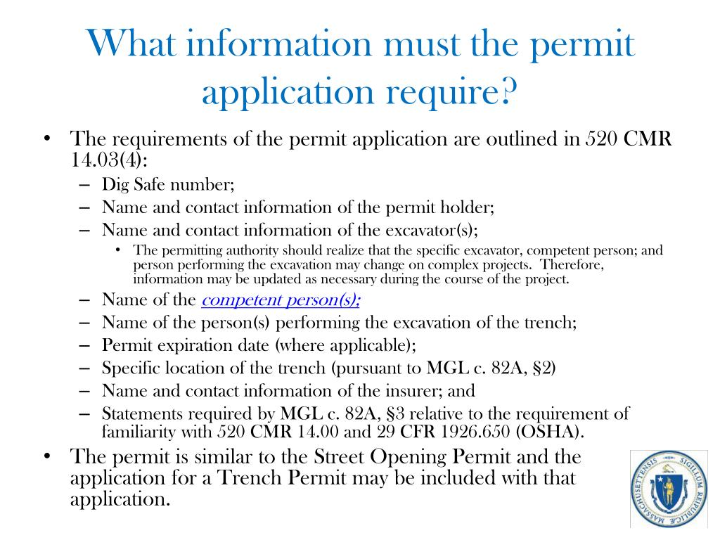 What information must the permit application require?