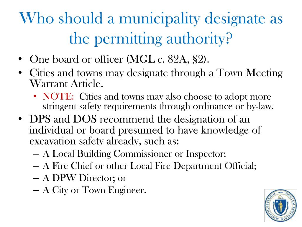 Who should a municipality designate as the permitting authority?
