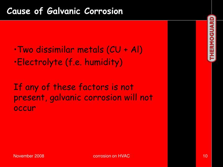 Cause of Galvanic Corrosion