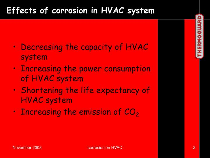 Effects of corrosion in HVAC system