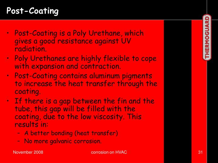 Post-Coating is a Poly Urethane, which gives a good resistance against UV radiation.