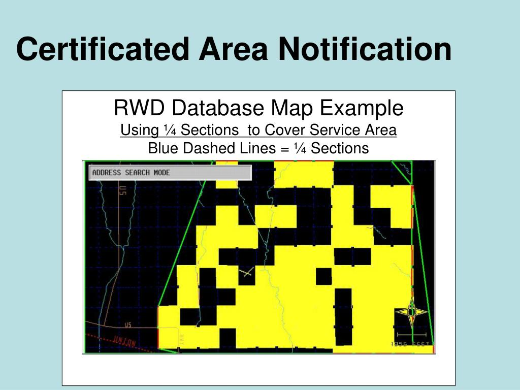 Certificated Area Notification