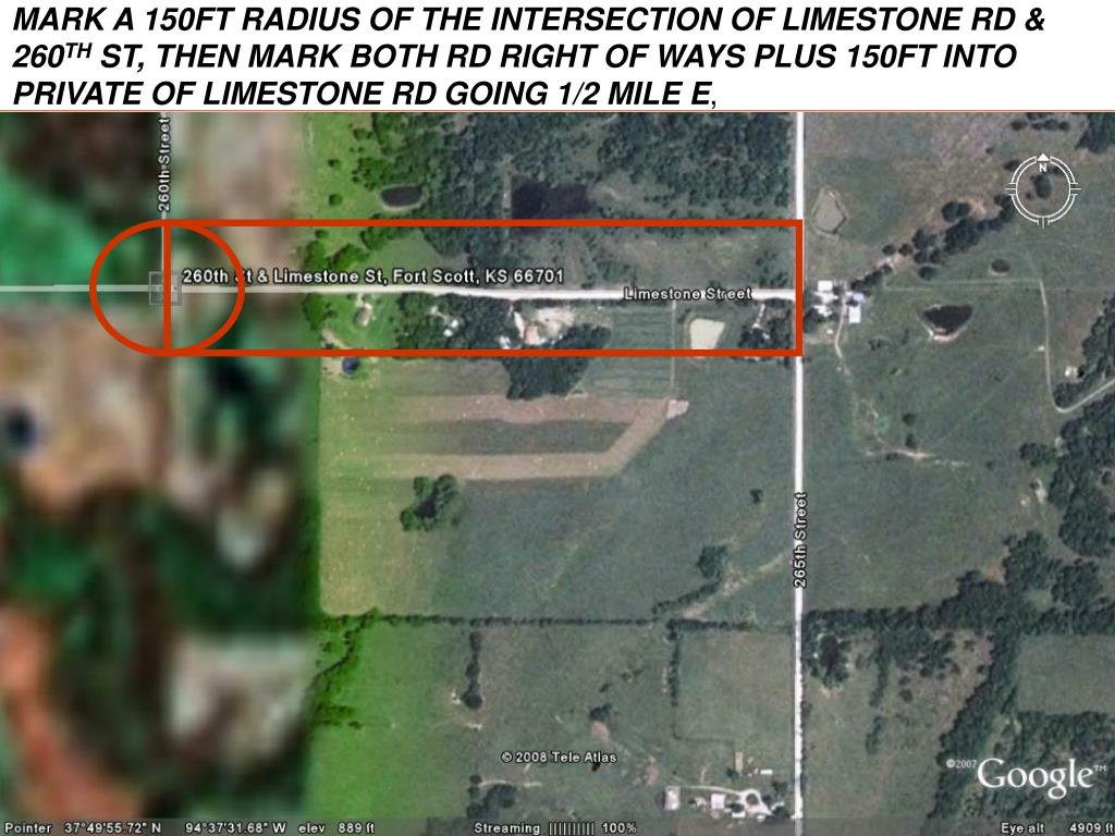 MARK A 150FT RADIUS OF THE INTERSECTION OF LIMESTONE RD & 260