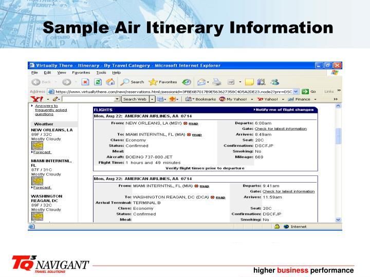 Sample Air Itinerary Information