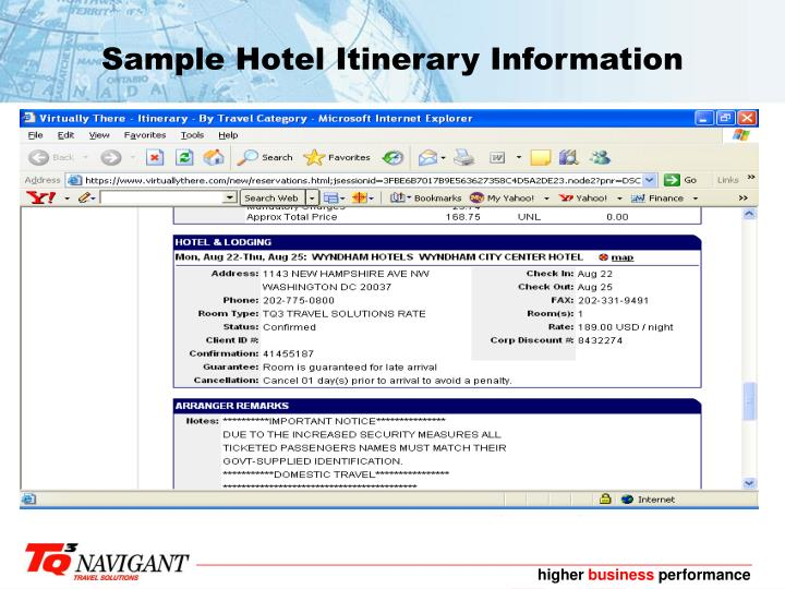 Sample Hotel Itinerary Information