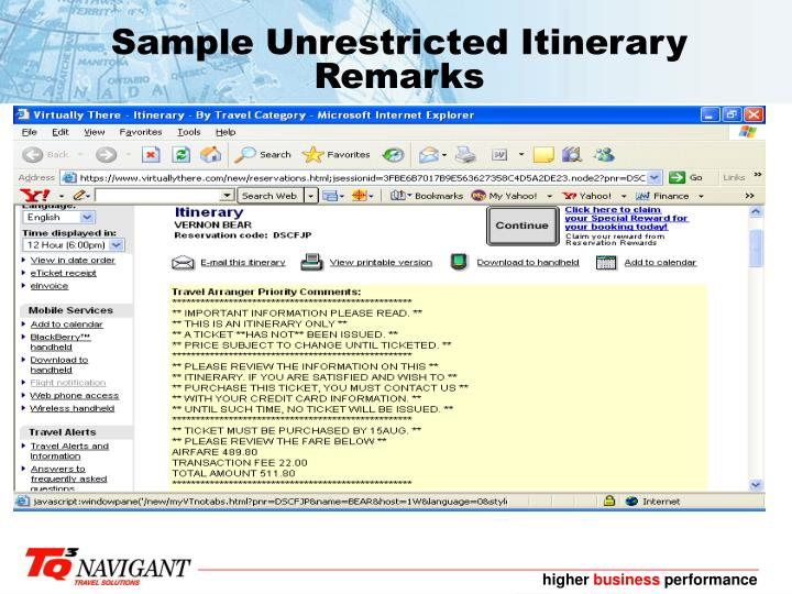 Sample Unrestricted Itinerary Remarks