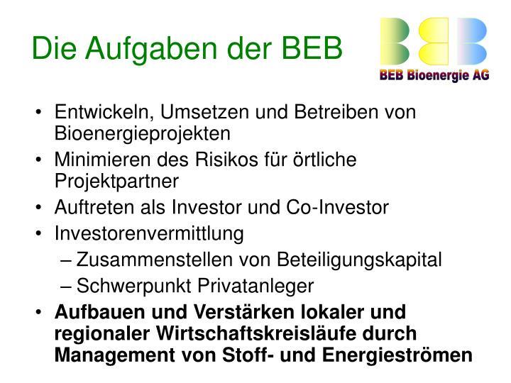 Die Aufgaben der BEB