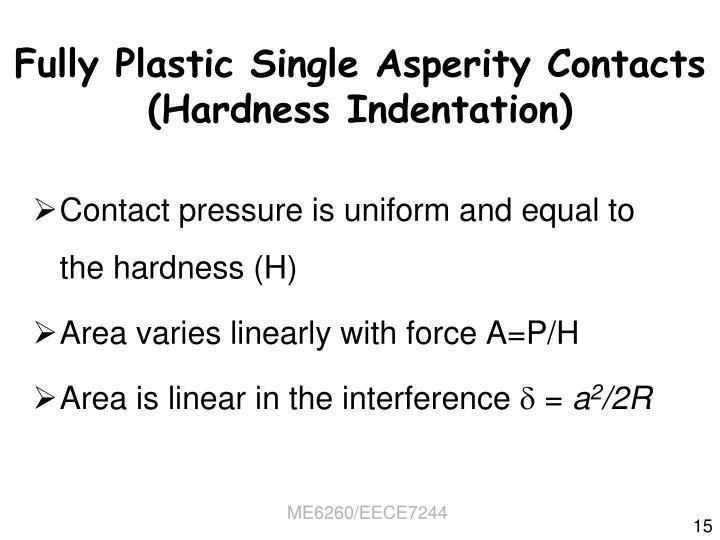 Fully Plastic Single Asperity Contacts