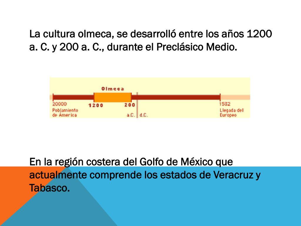 La cultura olmeca, se desarrolló entre los años 1200 a. C. y 200 a. C.,