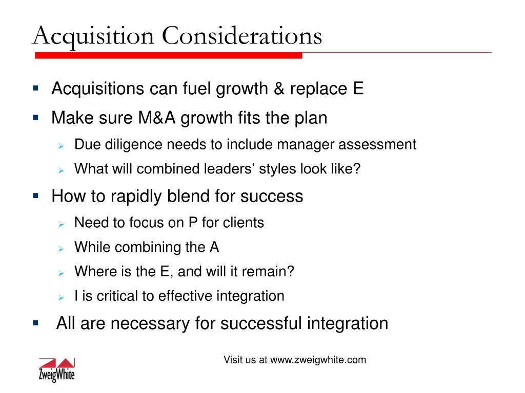 Acquisition Considerations