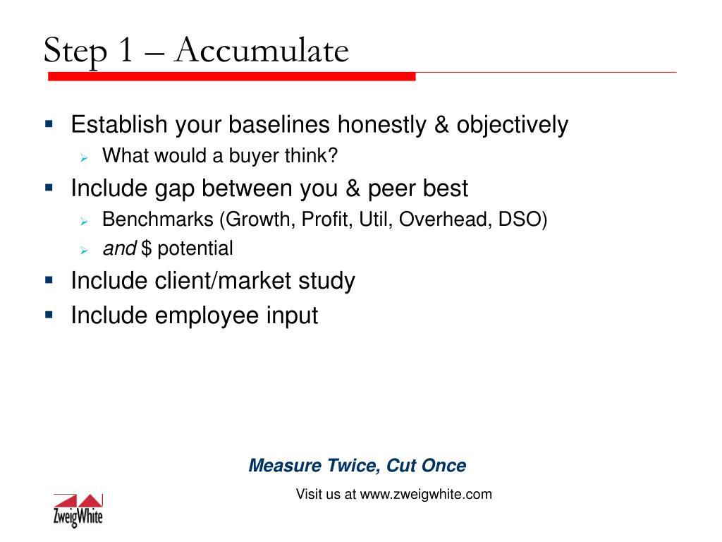 Step 1 – Accumulate