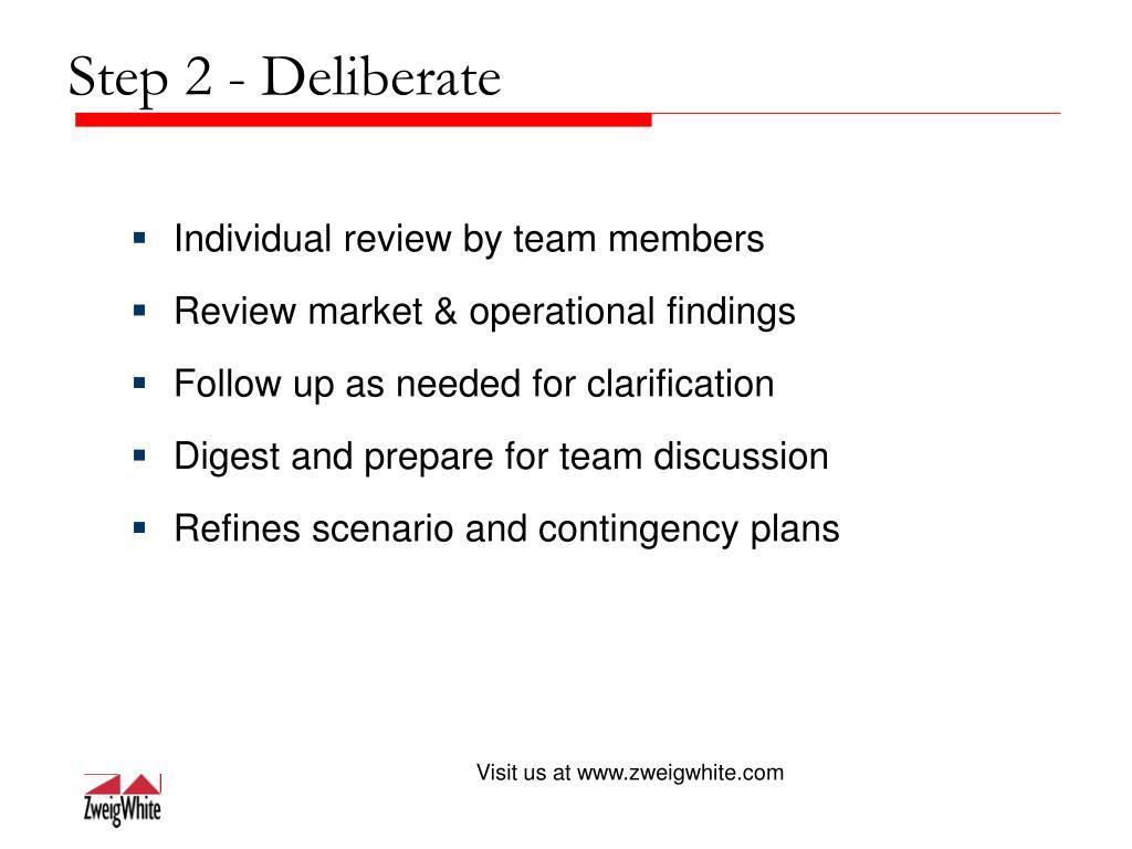 Step 2 - Deliberate