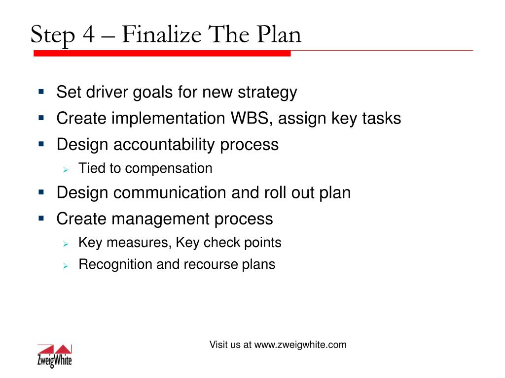 Step 4 – Finalize The Plan