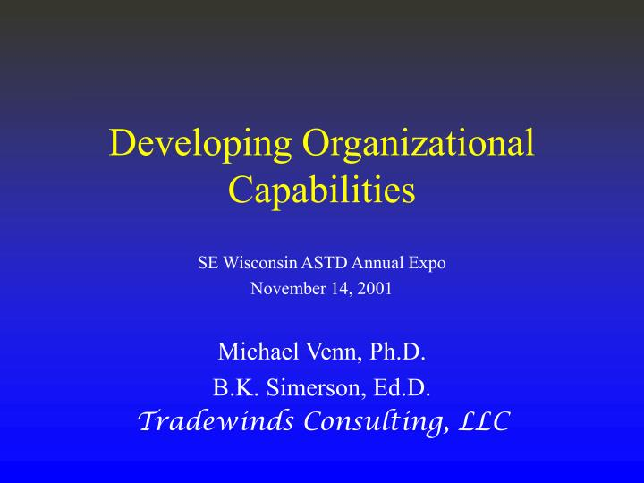 Developing organizational capabilities
