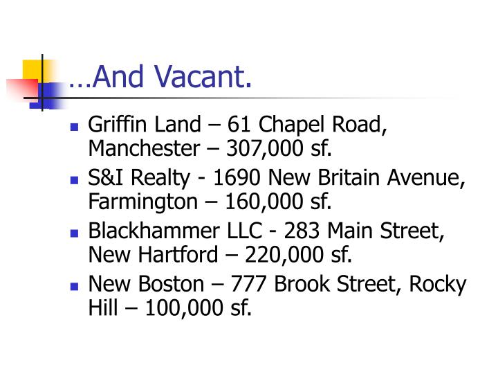 …And Vacant.