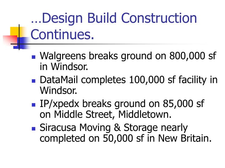 …Design Build Construction Continues.