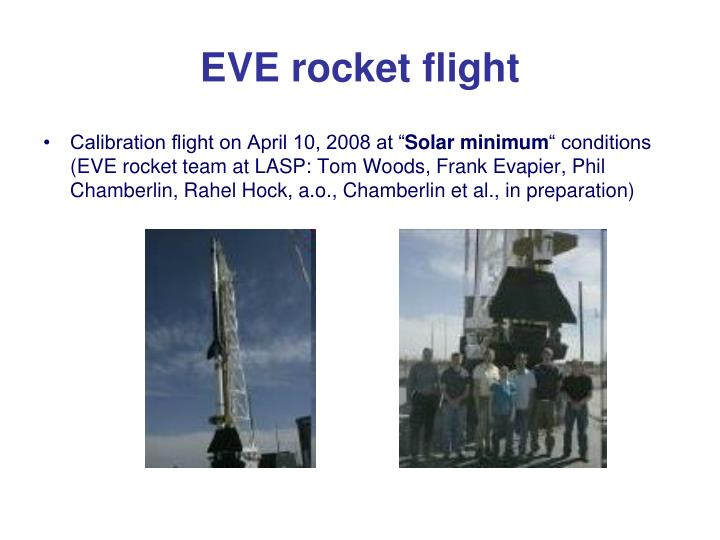 EVE rocket flight