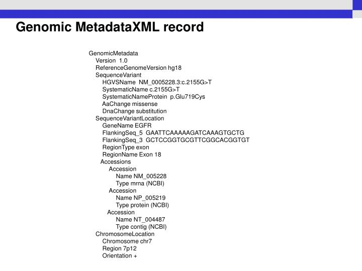 Genomic MetadataXML record