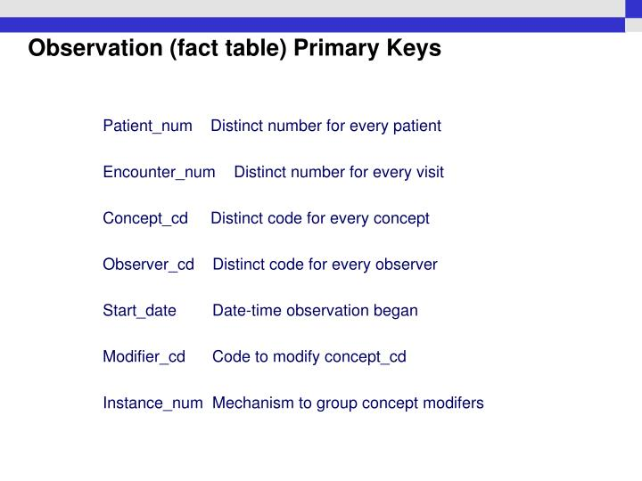 Observation (fact table) Primary Keys