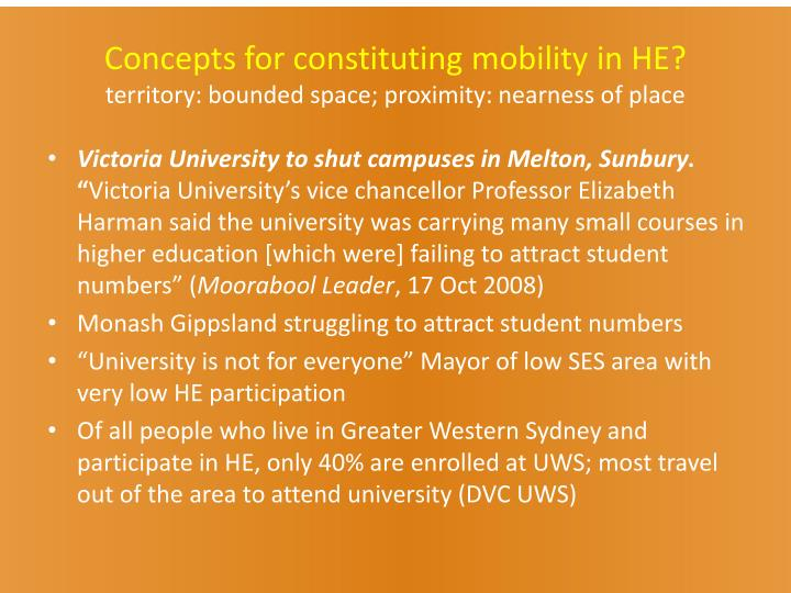 Concepts for constituting mobility in HE?