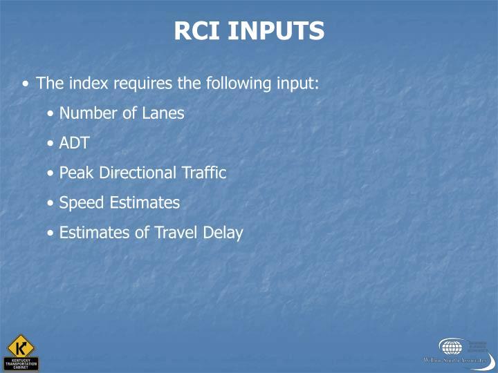 RCI INPUTS
