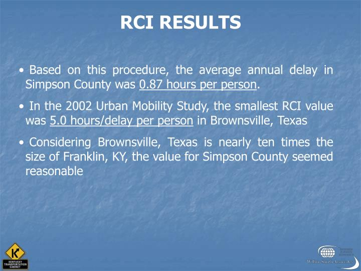 RCI RESULTS