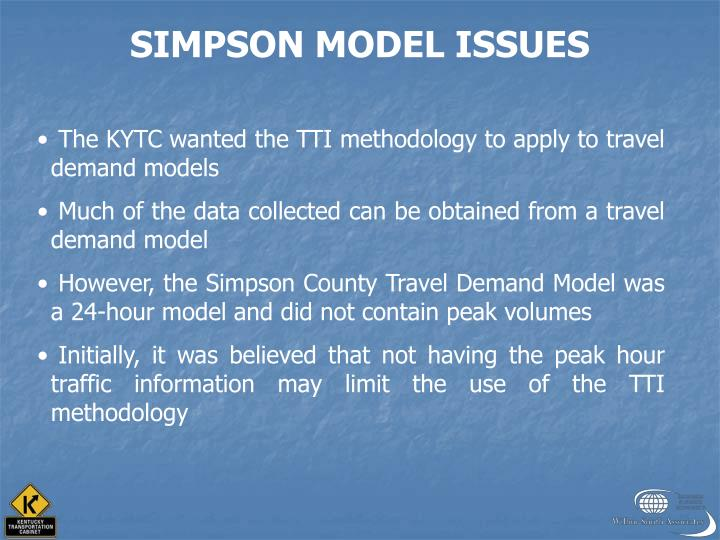 SIMPSON MODEL ISSUES