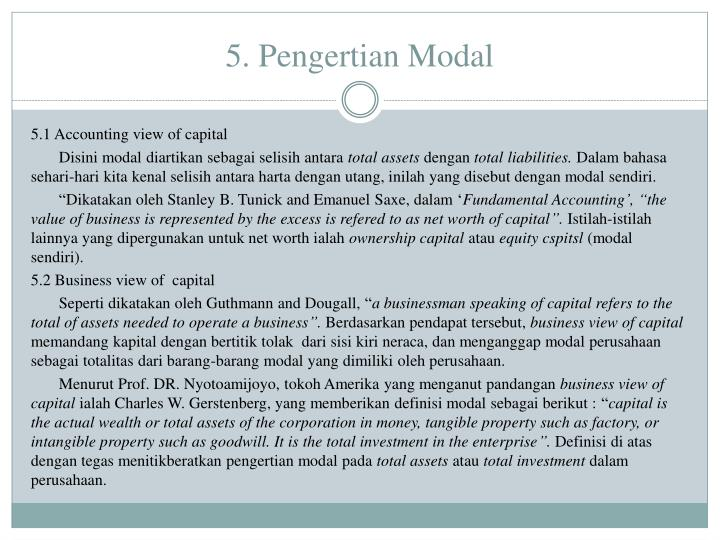 5. Pengertian Modal