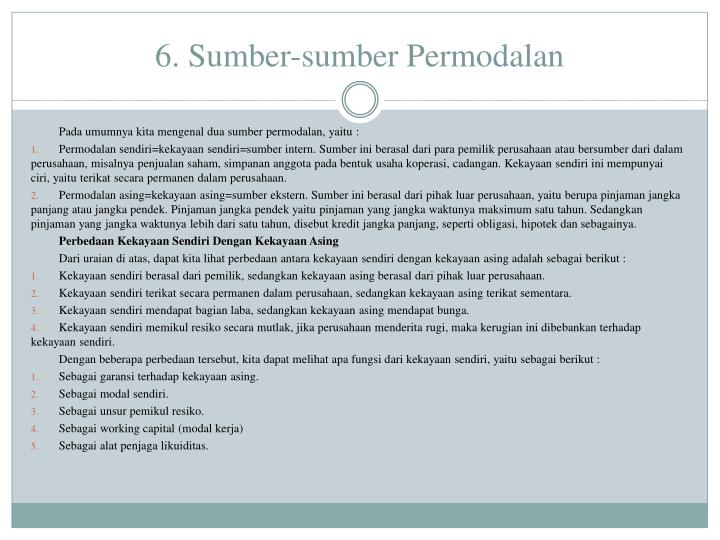 6. Sumber-sumber Permodalan