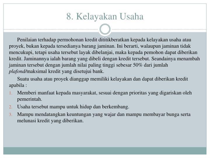 8. Kelayakan Usaha