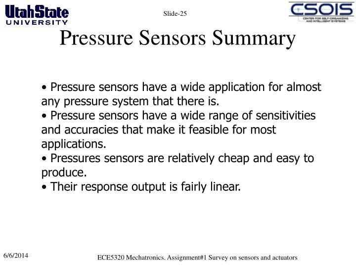 Pressure Sensors Summary