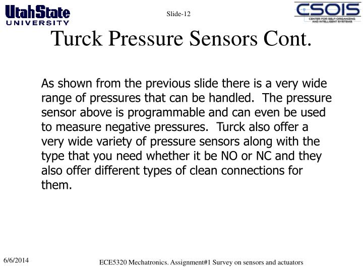 Turck Pressure Sensors Cont.