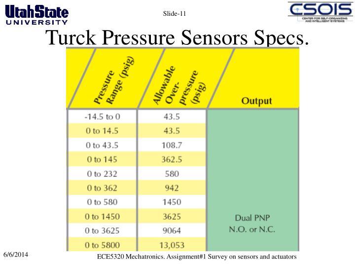 Turck Pressure Sensors Specs.