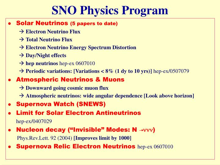 SNO Physics Program