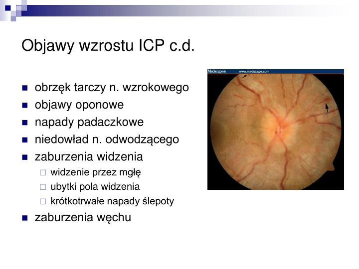 Objawy wzrostu ICP c.d.