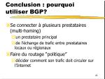 conclusion pourquoi utiliser bgp