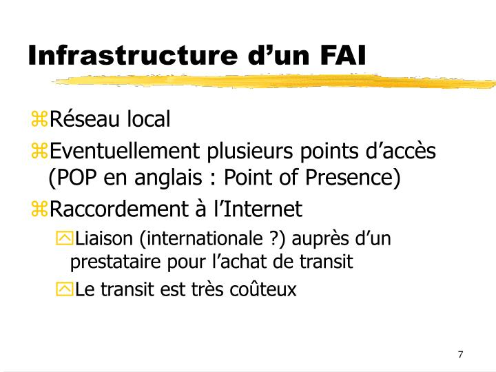 Infrastructure d'un FAI