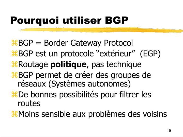 Pourquoi utiliser BGP