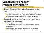 vocabulaire peer voisin et transit