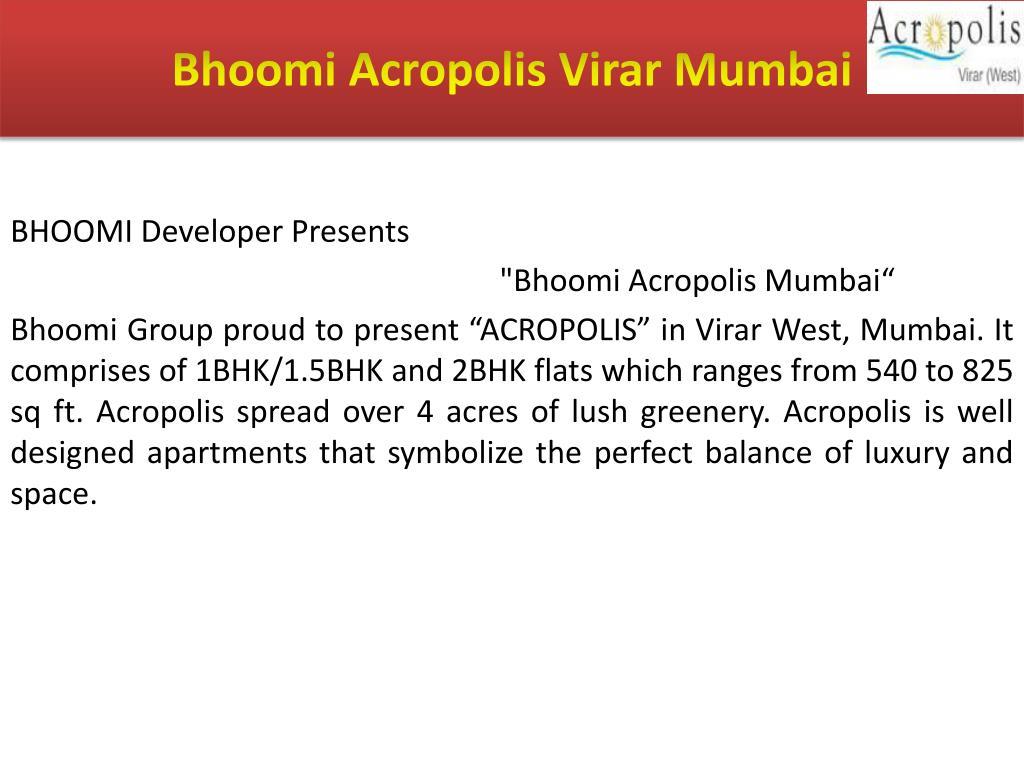 Bhoomi Acropolis Virar Mumbai