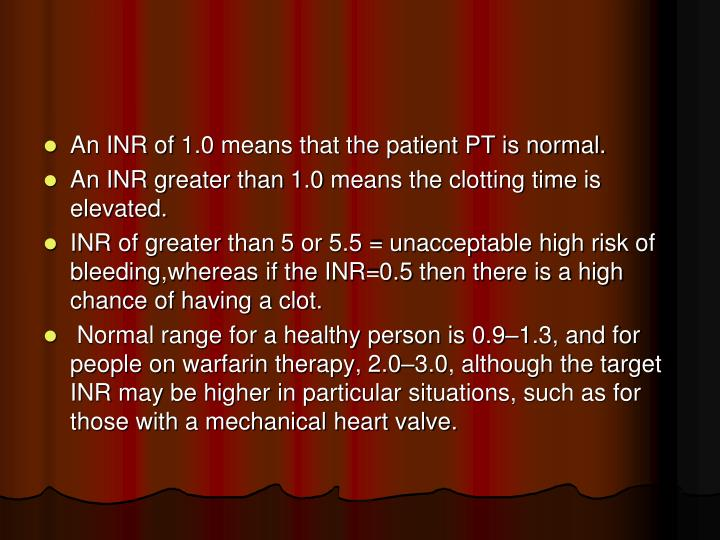 An INR of 1.0 means that the patient PT is normal.