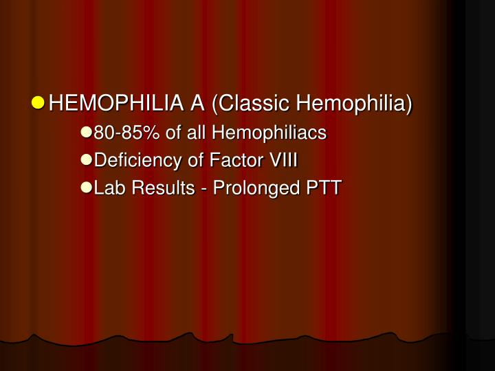 HEMOPHILIA A (Classic Hemophilia)