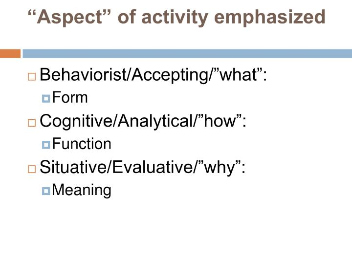 """Aspect"" of activity emphasized"