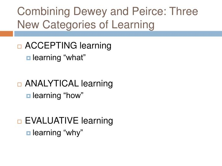 Combining Dewey and Peirce: Three New Categories of Learning
