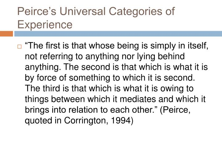 Peirce's Universal Categories of Experience