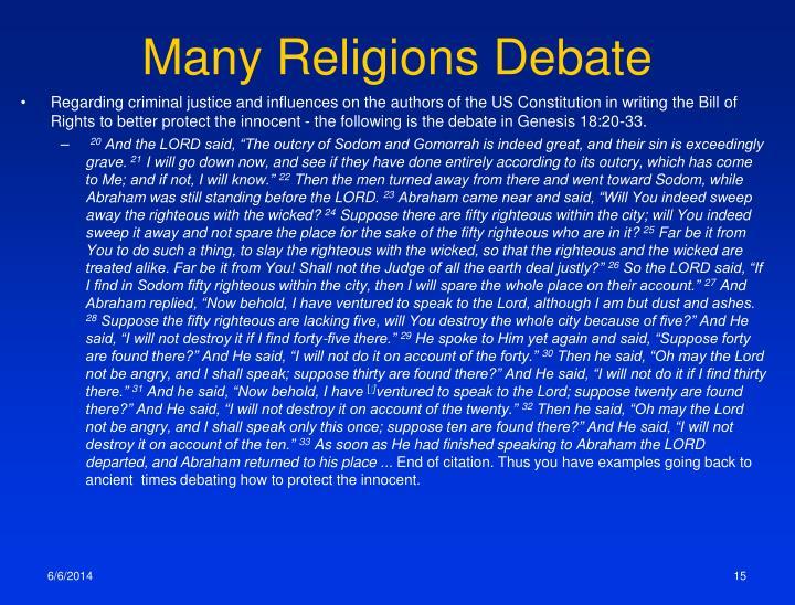 Many Religions Debate